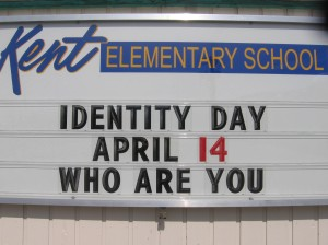 "Our school sign currently promoting ""Identity Day"" next week!  Thanks @gcouros for the idea!"