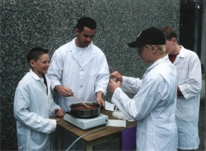 Andrew (left) and my chili cook-off team. Spring, 2001.